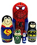 """GreatRussianGifts Superheroes Spider-Man Superman Batman 5-Piece 4.5"""" Tall Russian Nesting Doll Stacking Wooden Toy"""