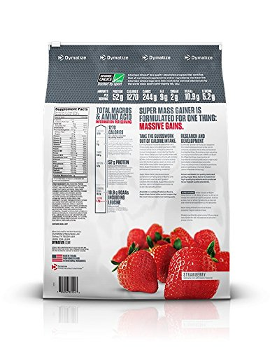 Dymatize Super Mass Gainer Protein Powder with 1280 Calories Per Serving, Gain Strength & Size Quickly, Strawberry, 12 lbs by Dymatize (Image #3)
