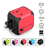 International Travel Adapter Charger - Worldwide AC Socket - 2.4A Dual USB Charging Ports for US, UK, EU, AU - Safety Fuse (RED)