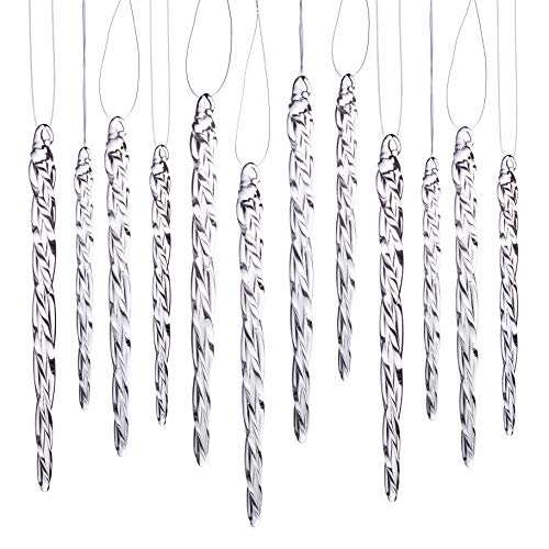 "Klikel Glass Icicle Ornaments - Winter Decorations for Christmas Tree - Total 36 Hanging Ornaments - 18 4"" and 18 6"""