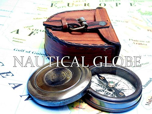 Meridian Nauticals KHUMYAYAD Antique Brass Poem Compass 2 Along with Leather case Maritime Nautical Vintage compss 4
