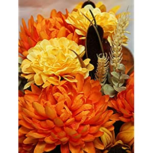 Admired By Nature 18 Stems Artificial Sunflower, Mum And Zinna Mixed Flowers Bush For Home Office, Wedding, Restaurant Decoration Arrangement, Gold/Orange Mix 3