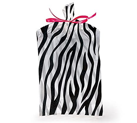 (10) Zebra Print Stripe Cello Party Favor Gift Treat Bag Jungle Safari 5x3x11