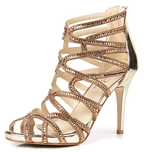 LizForm Women Evening Sandals Crisscross Jewelled Cutout Platform Pumps Wedding Stiletto High Heels Gold 6