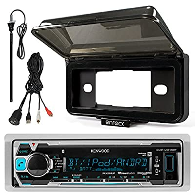 """Kenwood KMR-M318BT In-Dash Marine Boat Audio Bluetooth USB Receiver With Waterproof Protective Cover Bundle Combo With Enrock USB/AUX To RCA Interface Mount Cable + 45"""" Radio Antenna Mast"""