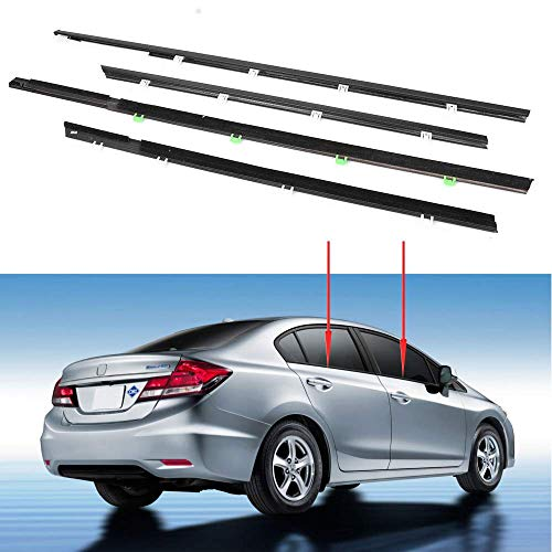 MotorFansClub 4PCS Weatherstrip Window Moulding Seal for Honda Civic 2012 2013 2014 2015, Door Outside Trim Seal Belt, Black