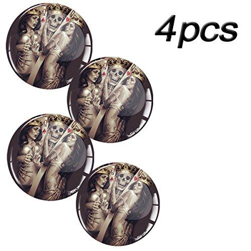 Skino 4 x 60mm 3D silicone stickers for rims wheel centre hub caps auto car Skull (Skull Center)