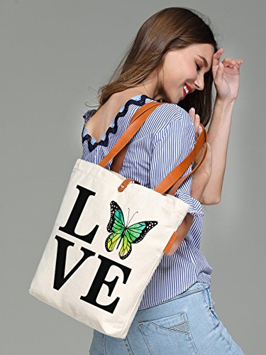 So'each Women's Love Butterfly Letters Graphic Canvas Tote Handbag Shopper Bag