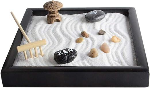 VOSAREA Mini Jardín Zen Meditación Bandeja de Jardín Zen con Rastrillos de Arena Rocas Naturales de Río Kit de Adorno de Jardín de Hadas en Miniatura para Decoración de Escritorio: Amazon.es: Hogar