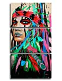 Canvas Print Wall Pictures for Living Room Indian Girl Chief Native American Painting Modern Home Decor Artworks Posters and Prints Pictures 3 Panel Framed Gallery-wrapped Stretched, 14x20 Inch/3pcs