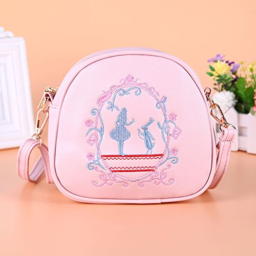 Bag PU Women Bag Lovely Embroidery Round Pink Leather Crossbody Aediea Shoulder gz5wq