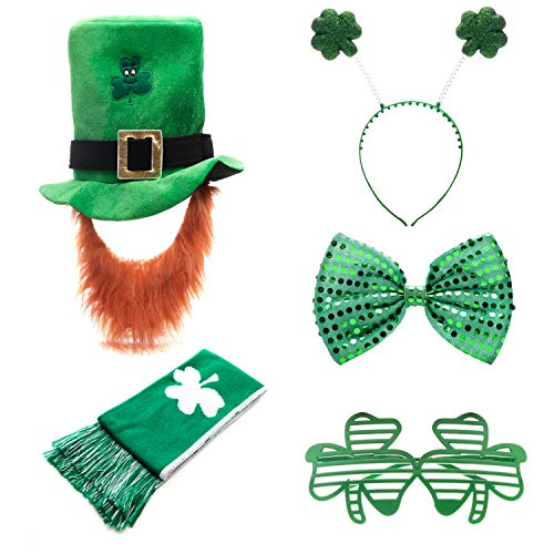 Quesera St Patricks Day Accessories 5 Pieces Shamrock Hat Headband Scarf Glasses Bow Tie Irish Costume, Pack, Free Size