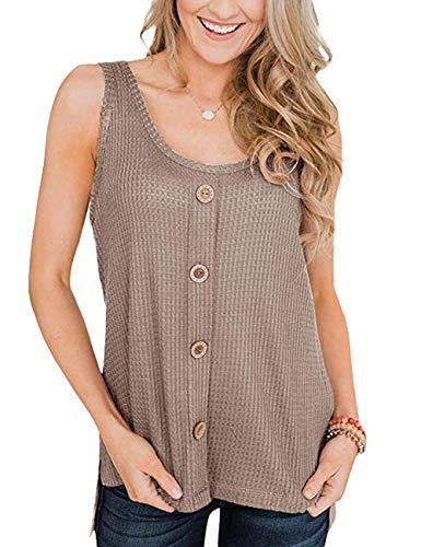 (GINVELL Womens Sleeveless Henley Shirts Button Waffle Scoop Neck Tank Tops Brown)