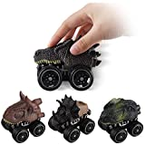 Satkago Upgrade Big Size Dinosaur Inertia Cars, 4 Pack 4inch Friction Powered Cars Push and Go Dino Car Toy for 3 Years Old Boys Girl Kids Novelty Gifts