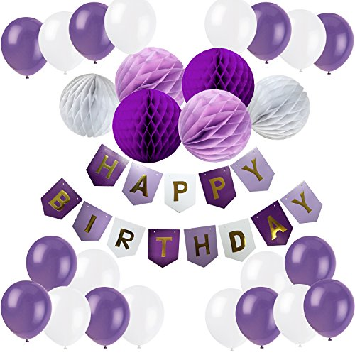 Cocodeko Happy Birthday Bunting Banner with 20 Pieces Latex Party Balloons and 6 Pieces Honeycomb Balls for Birthday Party Decorations - Purple