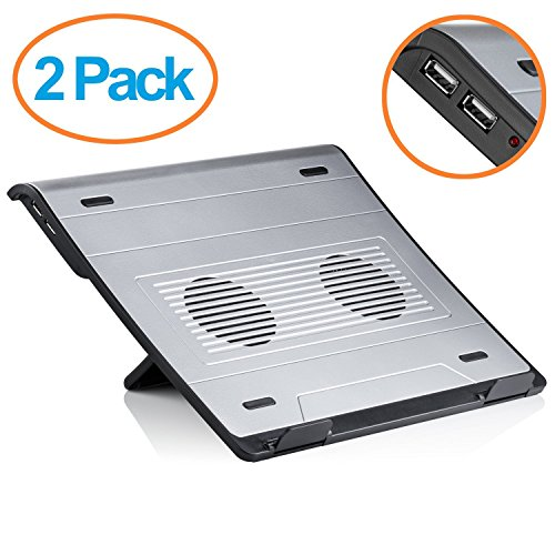 Laptop Stand Usb (Halter LZ-204 Adjustable Laptop Cooling Stand with Dual Fans and 5 Adjustable Angles for Laptop / Notebook / iPad / Tablet and more (2 Pack))
