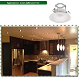 6 Pack 4 Inch White Baffle Recessed Can Light