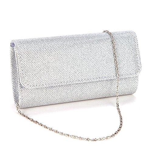 Gyeitee 3-in-1 Women Glitter Evening Clutch Bag, Party Spark Handbag Small Clutch Bag Bridal Purse Wedding Bag(Silver) by Gyeitee