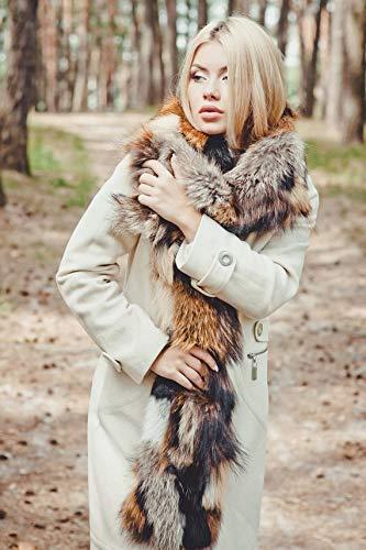 Real Fur Multicolour Fox Women's collar for winter coat Scarf