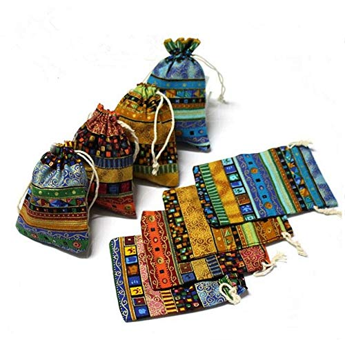 (Startdy DH 10pcs Egyptian Style Jewelry Coin Candy Goodie Pouches Aztec Print Drawstring Gift Bag)