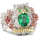 by lucky 925 Silver Animal Emerald White Topaz Woman Men Wedding Bridal Ring Size 6-10 (8)