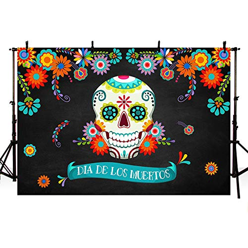 MEHOFOTO Day of The Dead Party Decoration Photo Background Props Calling All Souls Dia De Los Muertos Sugar Skull Mexican Fiesta Colorful Flowers Halloween Birthday Photography Backdrop Banner 7x5ft