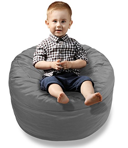 BeanBob Bean Bag Chair Cushion (Steel Grey) 2ft - Bedroom Sitting Sack for Toddlers & Small Children w/Super Soft Foam Filling