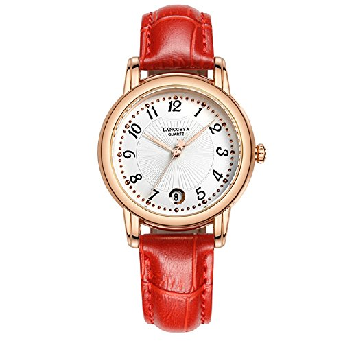 3 Hand Small Watch - ChezAbbey Elegant Women' s Ladies' Wristwatches Waterproof Analog Clock Time Date Display Round Dial Quartz Watch Red