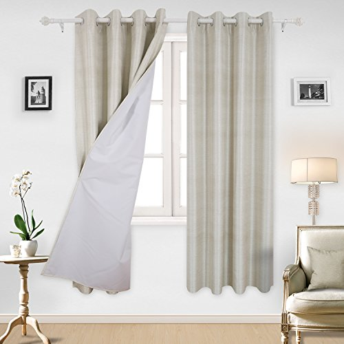 Deconovo Home Decor Room Darkening Blackout Curatins with White Thermal Insulated Lining for Bedroom Beige 52W x 84L Inch 2 Panels