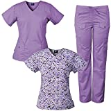 Medgear 3-Piece Women's Stretch Medical Scrubs Set and Printed Top Combo, Snap & Pleat Detail