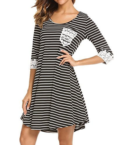 lace 3/4 sleeve midi dress - 3