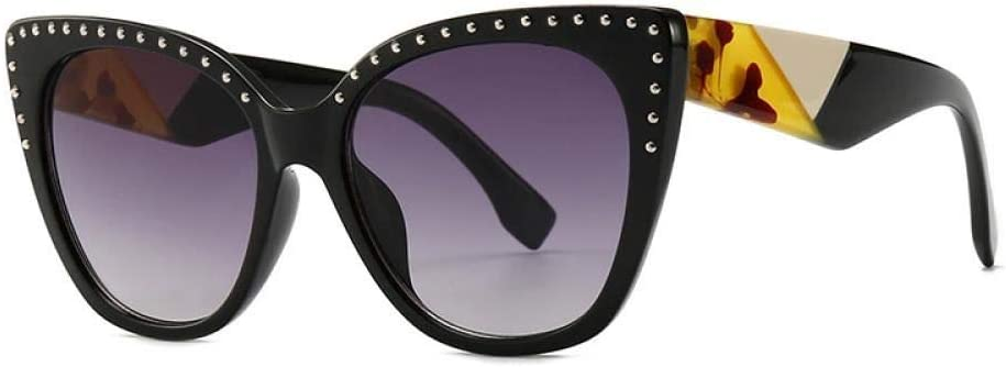 WSXOKN Lunettes de Soleil Hommes Femmes UV400 Cat Eye Luxury Diamond Brand Design Lunettes de Soleil Lunettes Shades C1BlackLens.WhiteLeg