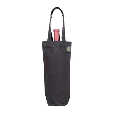 ECO-BAGS PRODUCTS Wine Tote Canvas Black Rustic 100% Recycled Cotton