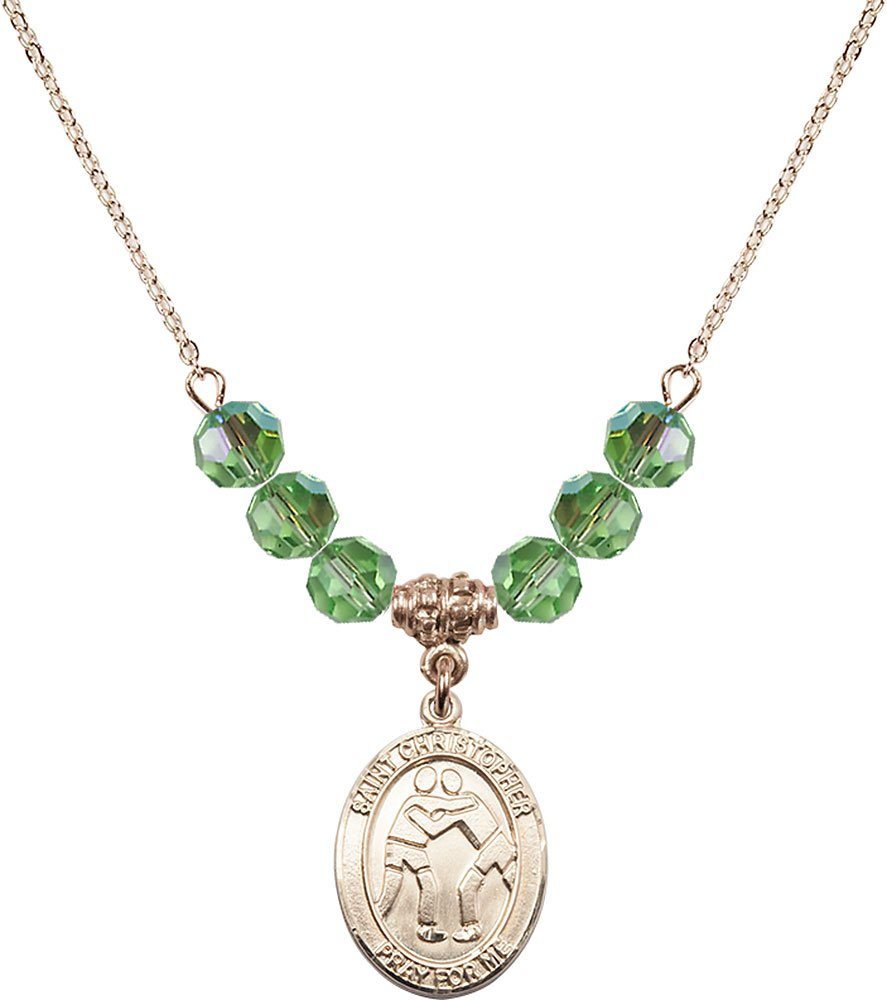 Gold Plated Necklace with 6mm Peridot Birthstone Beads & Saint Christopher/Wrestling Charm.