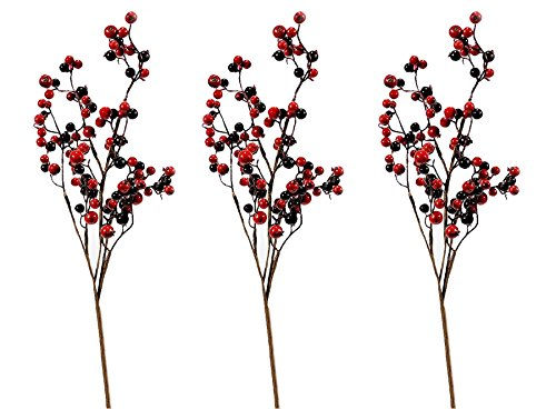 Red Berry Branches (Mixed Red Burgundy Berry Spray, Weather Resistant, 17