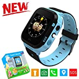 Kids Smart Watch with GPS Tracker, Camera Games Flash Night Light Touch Anti-lost Alarm Smart Watch Bracelet Christmas Gift for Children Girls Boys Compatible with iPhone Android (002 G3E Blue)