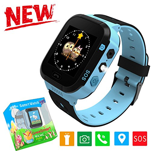 Kids Smartwatches with GPS Flash Night Light Touch Screen Anti-lost Alarm Smart Watch Bracelet for Children Girls Boys Compatible for iPhone Android (002 Blue without Pedometer)