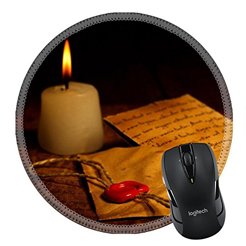Price comparison product image MSD Natural Rubber Mousepad Round Mouse Pad 24447099 Candle near vintage envelope with red wax seal stamp