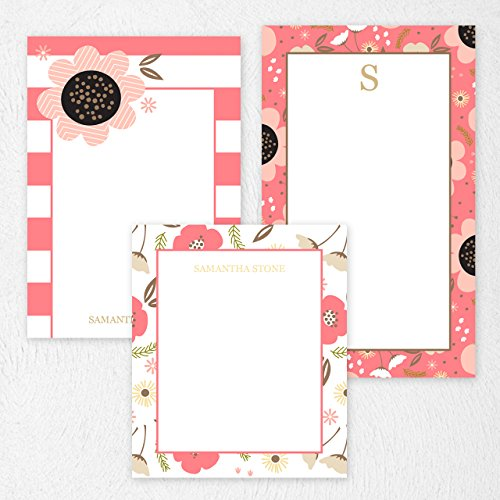 Custom Coral Floral Note Pad Set Personalized Stationery - 50 sheets per note pad - 3 designs and sizes: 4.25x5, 4.25x6, 4.25x7. Made in the USA. Custom 50 Sheet Notepads