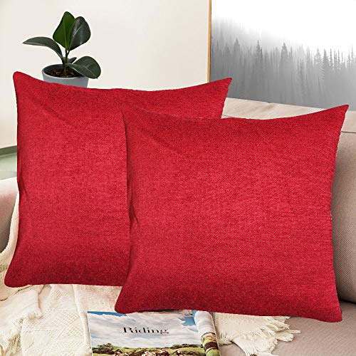 Whiteibis Polyester Cotton Soft Solid Decorative Square Throw Pillow Covers Set, Cushion Cases, Pillowcases for Sofa/Bedroom/Car, 18 X 18 Inches, 2 Pieces, Red ()
