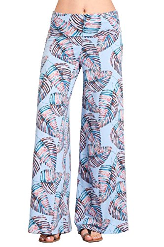 (HEYHUN Womens Tie Dye Solid Wide Leg Bottom Boho Hippie Lounge Palazzo Pants - Aqua Multi - Large)