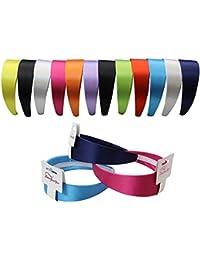 Satin Headband - 12 Hard Headbands - Ribbon Hairband for Women by CoverYourHair