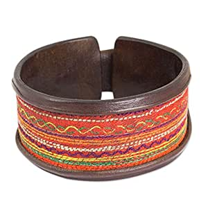 """NOVICA Leather and Embroidered Cotton Cuff Multi-Color Wristband Bracelet, 7.75"""" 'Hill Tribe Party'"""