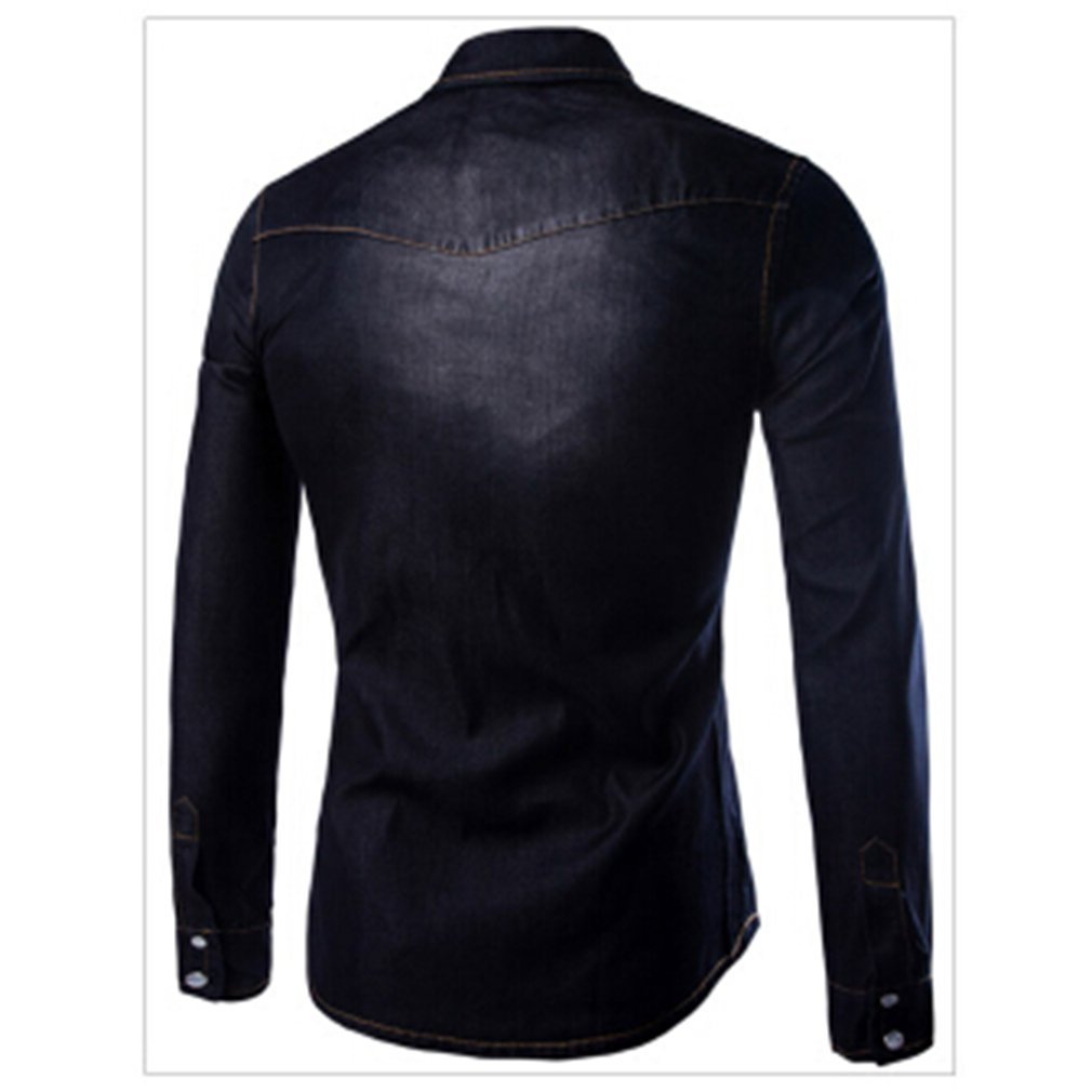 Iumer Mens Long Sleeve Western Denim Shirt Casual Denim Shirts Long Sleeve Washed Men Slim Fit Jeans Shirt Black