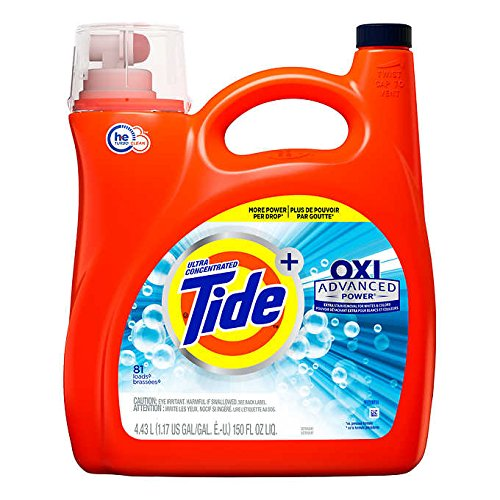 Tide Ultra Concentrate, OXI Advanced Power,Extra Stain Removel for Whites & Color Liquid Laundry Detergent - 150 oz, 81 - Liquid Laundry