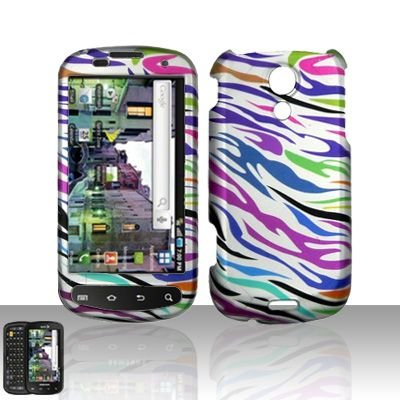 Pink Green Purple Blue Black Zebra Stripe Rubberized Design Snap on Hard Cover Protector Faceplate Cell Phone Case for Sprint Samsung Epic Galaxy S+ Free iTuffy Flannel Bag ()