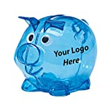Mini Plastic Piggy Bank - 100 Quantity - $1.75 Each - PROMOTIONAL PRODUCT / BULK / BRANDED with YOUR LOGO / CUSTOMIZED