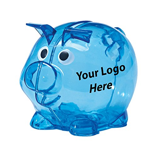 Mini Plastic Piggy Bank - 100 Quantity - $1.75 Each - Promotional Product/Bulk/Branded with Your Logo/Customized]()