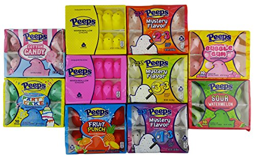 Marshmallow Peeps Easter Candy Chicks Super Pack: Yellow, Pink, Cotton Candy, Party Cake, Fruit Punch, Bubble Gum, Sour Watermelon, Mystery Flavors 1, 2 & 3 - 10 Pack of Chicks, 100 (Punch Gum)