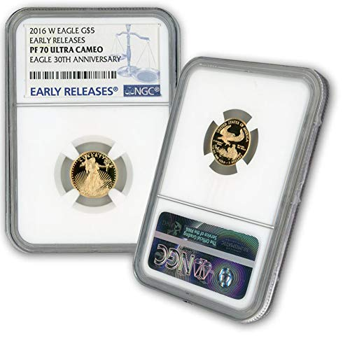 2016 W 1/10oz Proof Gold Eagle G$5 PF70UCAM NGC Early Releases-30th Anniversary Label